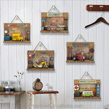 Metal Car Wall Decor Shabby Chic Hanging Craft For Kids