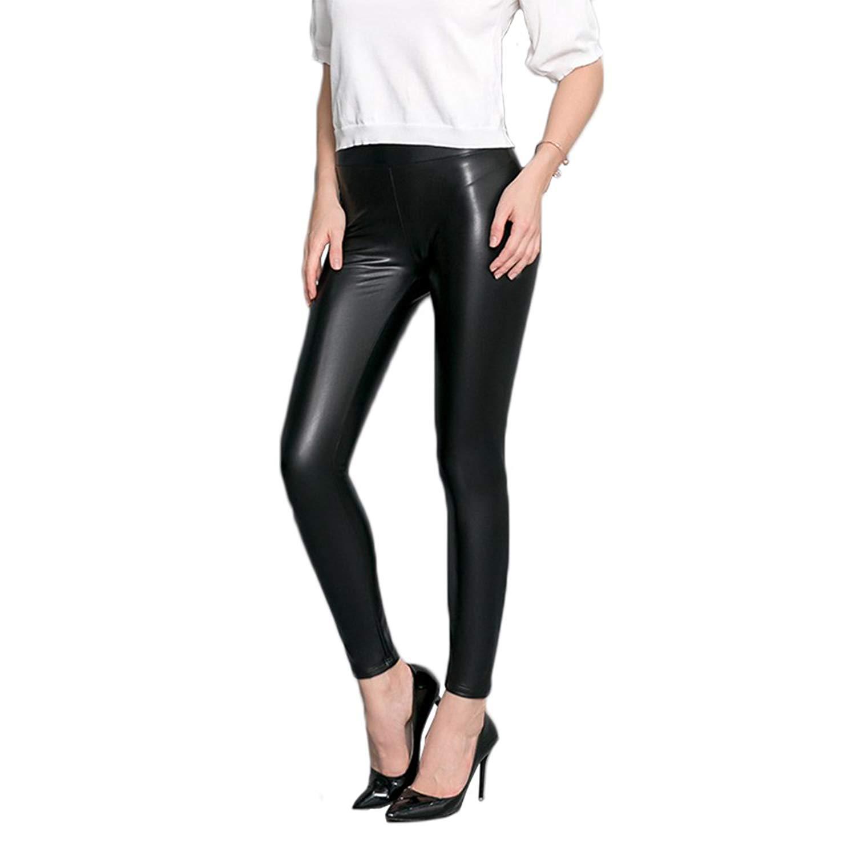 1fe51fc2812f5 Pop Fashion Women's Spandex Faux Leather Leggings, Tight Fit, Soft High  Waist Black Stretch