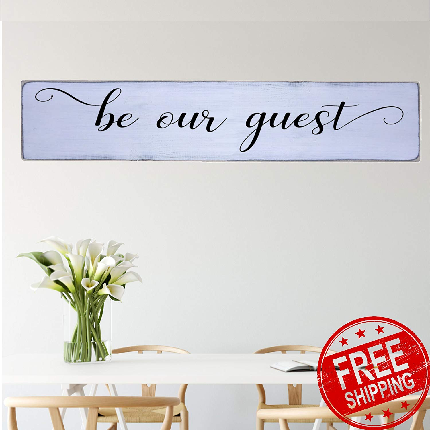 Be Our Guest Handmade Farmhouse Style Wall Art Wood Sign Large 10 in x 48 in Housewarming Gift Wall Decor