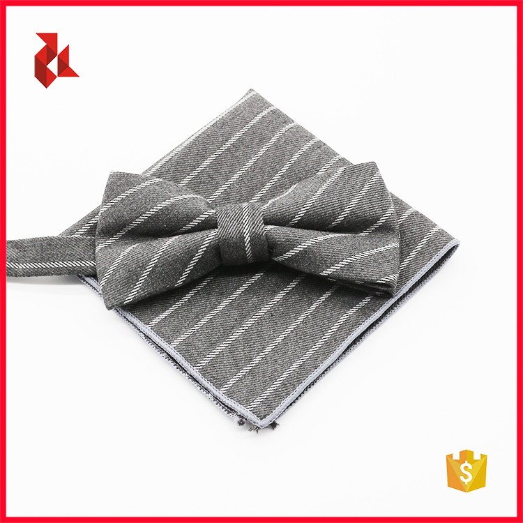 Wholesale Men's Cotton Striped Bowtie Pocket Square Sets