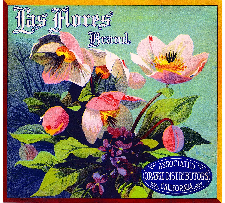 A SLICE IN TIME Los Angeles California Las Flores Brand Orange Citrus Fruit Crate Box Label Art Print