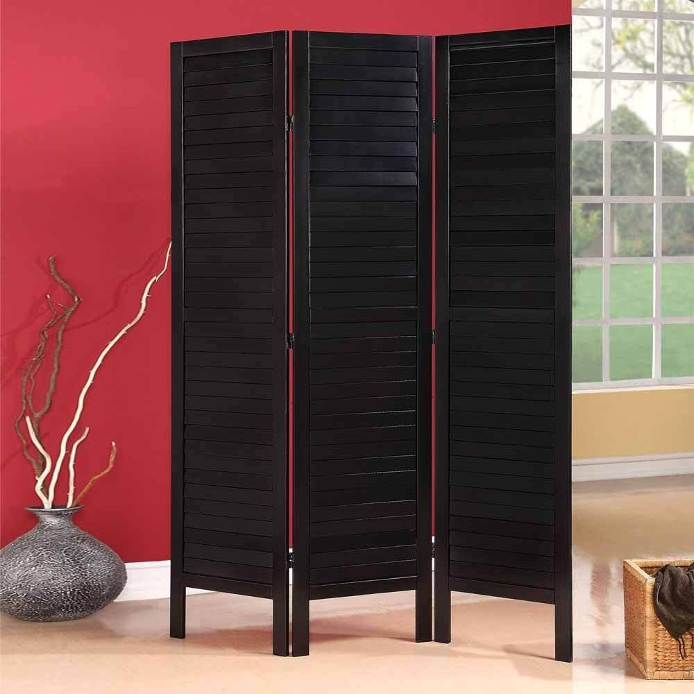 Get Quotations 1perfectchoice Trudy Black Wood Shutter Design Room Divider Folding Screen 3 Panels Shoji