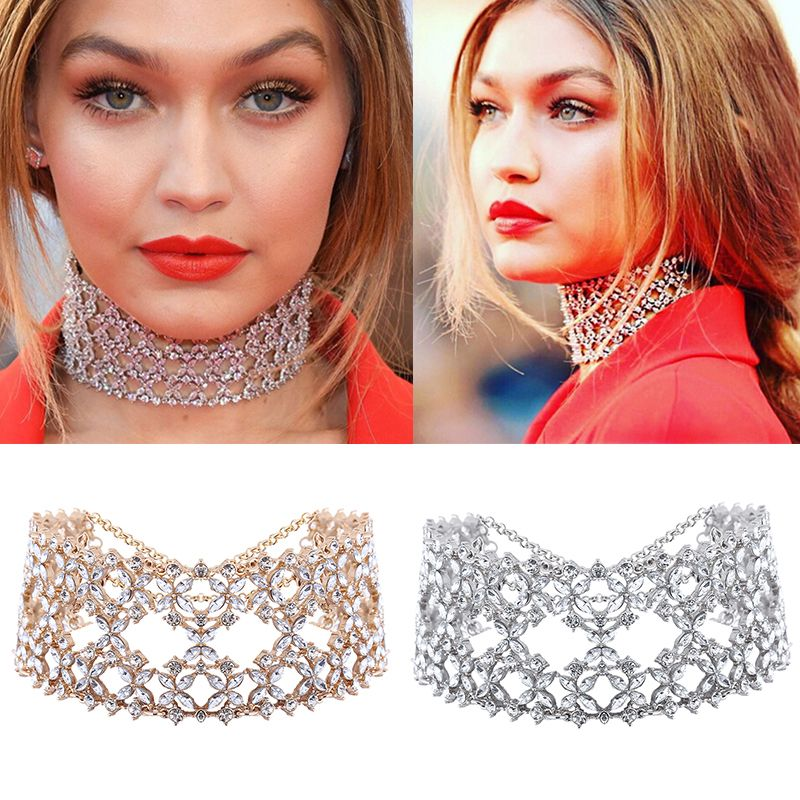 Dvacaman Brand 2017 Za Wide Choker Necklace Women Gold Plated Maxi Statement Necklace Wedding Flower Crystal Jewelry Bijoux I87