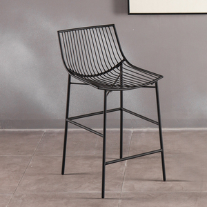Leisure Wire Tall Chair With Back Black Metal Wrought Iron Chair Industrial Kitchen Dining Chairs