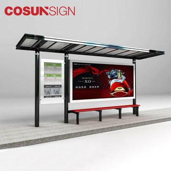 outdoor advertising solar bus shelter, solar bus stop shelter prices chinese supplier