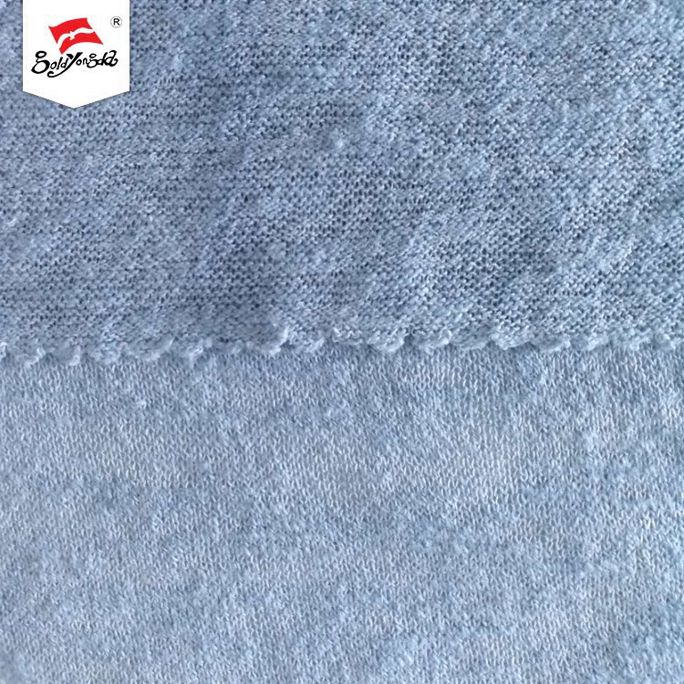 Resistance to various chemicals light blue polyester slub hacci fabric