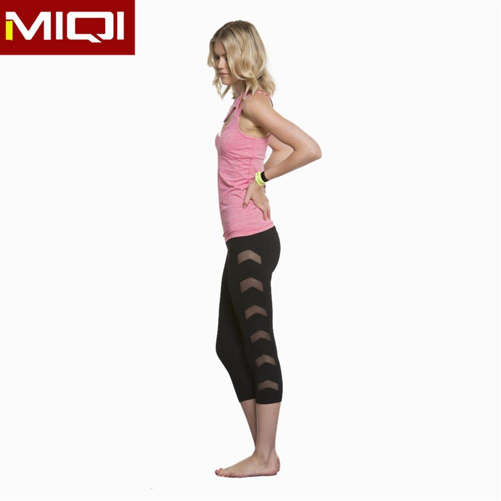 Top Quality Ladies Fitness Clothing Mesh Panel Sexy Yoga Capri ...
