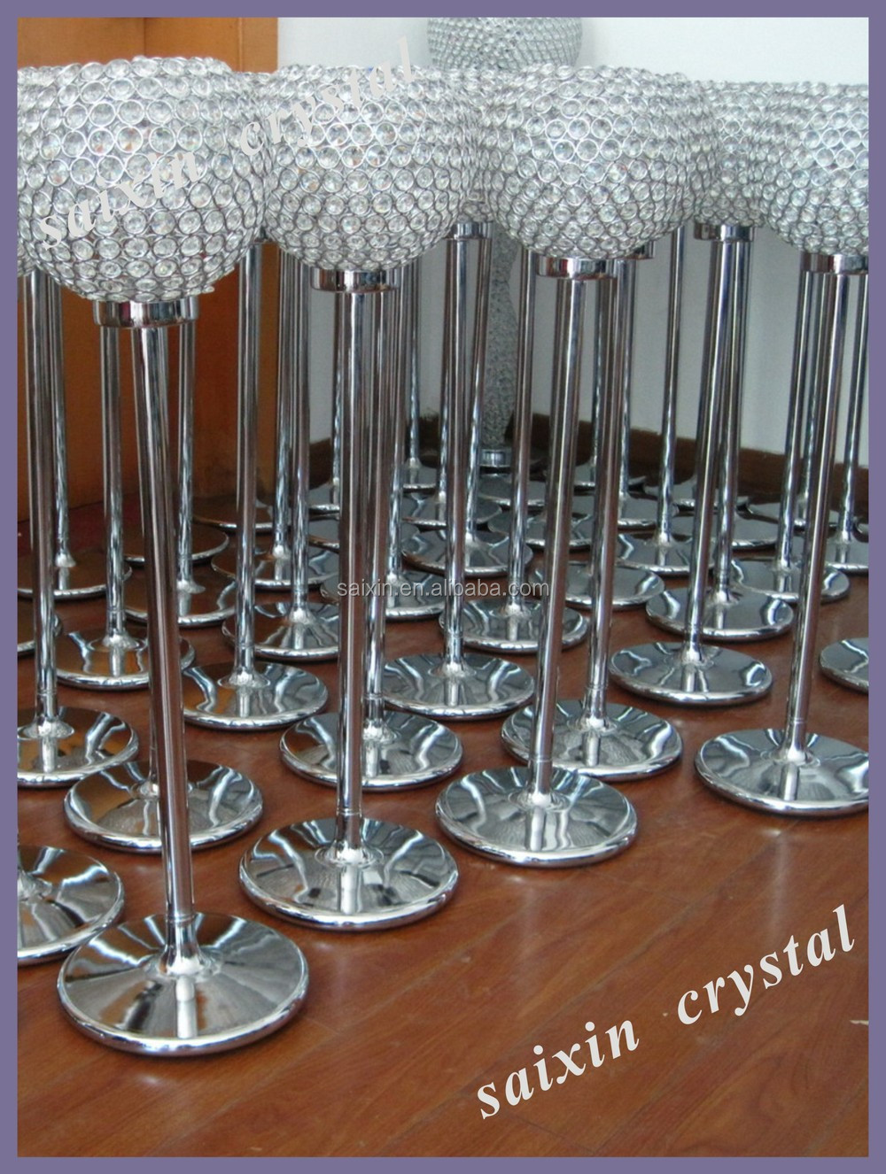 Crystal Globe Candles Holder For Wedding Table Top Centerpiece