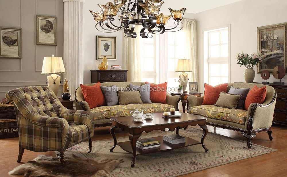 American classic wooden fabric sofa set living room sofa American classic furniture company