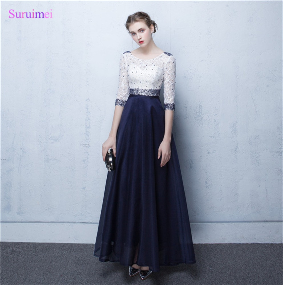 Contrast Ivory And Navy Blue Evening Dresses New Design With Half ...