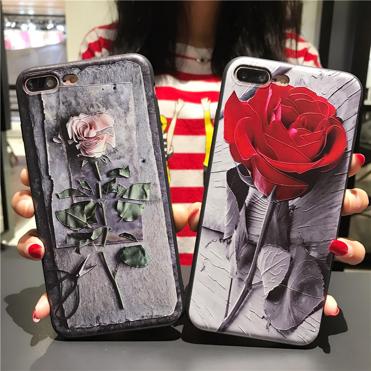 3D Soft TPU Elegant Red Rose Retro Design Phone Case for OPPO R11, for iPhone 6 7plus, for Huawei P10