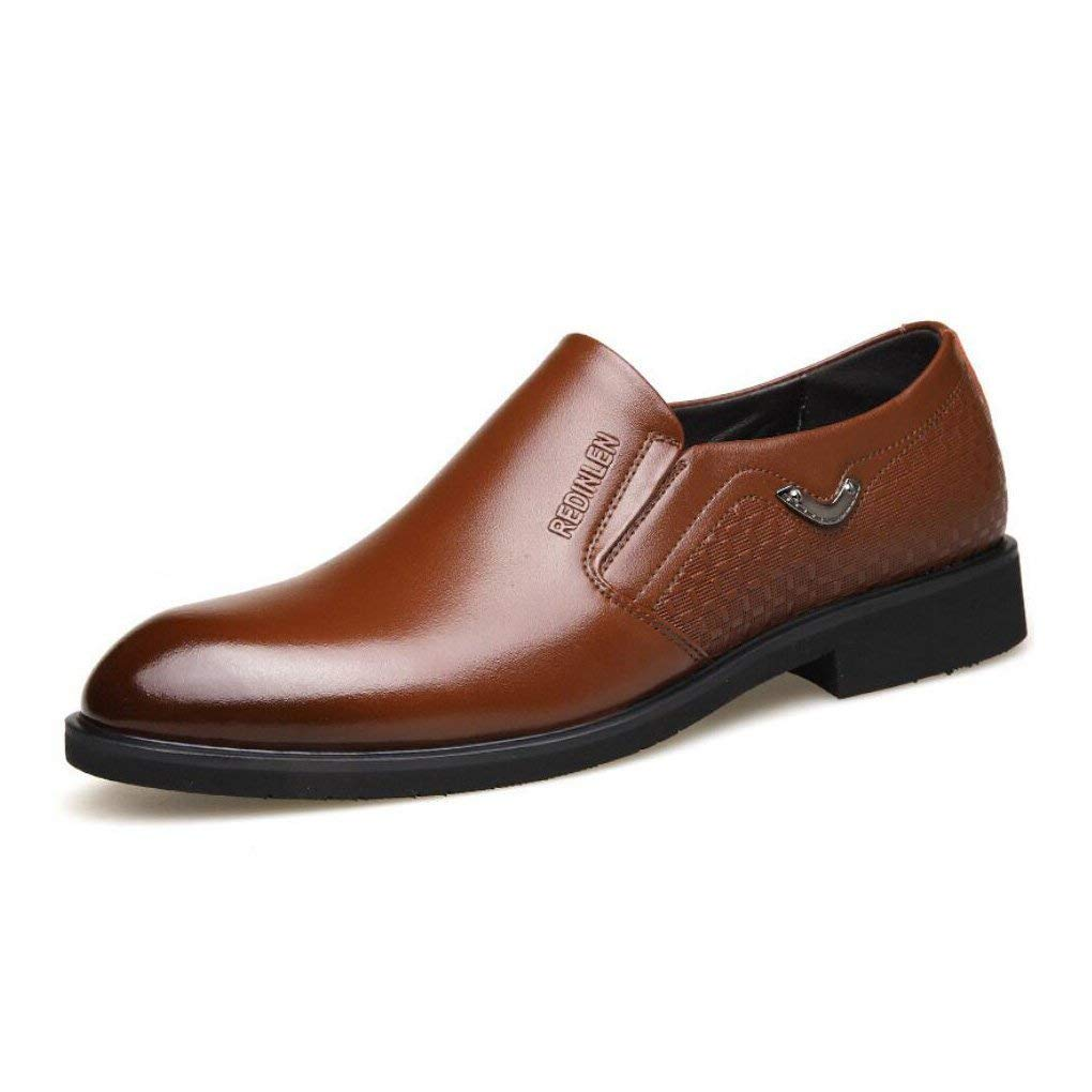 Yaxuan Mens Business Shoes,Dress Shoes, Spring Fall Leather Pointed Toe Shoes,Wedding Fashionable Office Formal Flat Shoes, Black,Brown,Brown,42