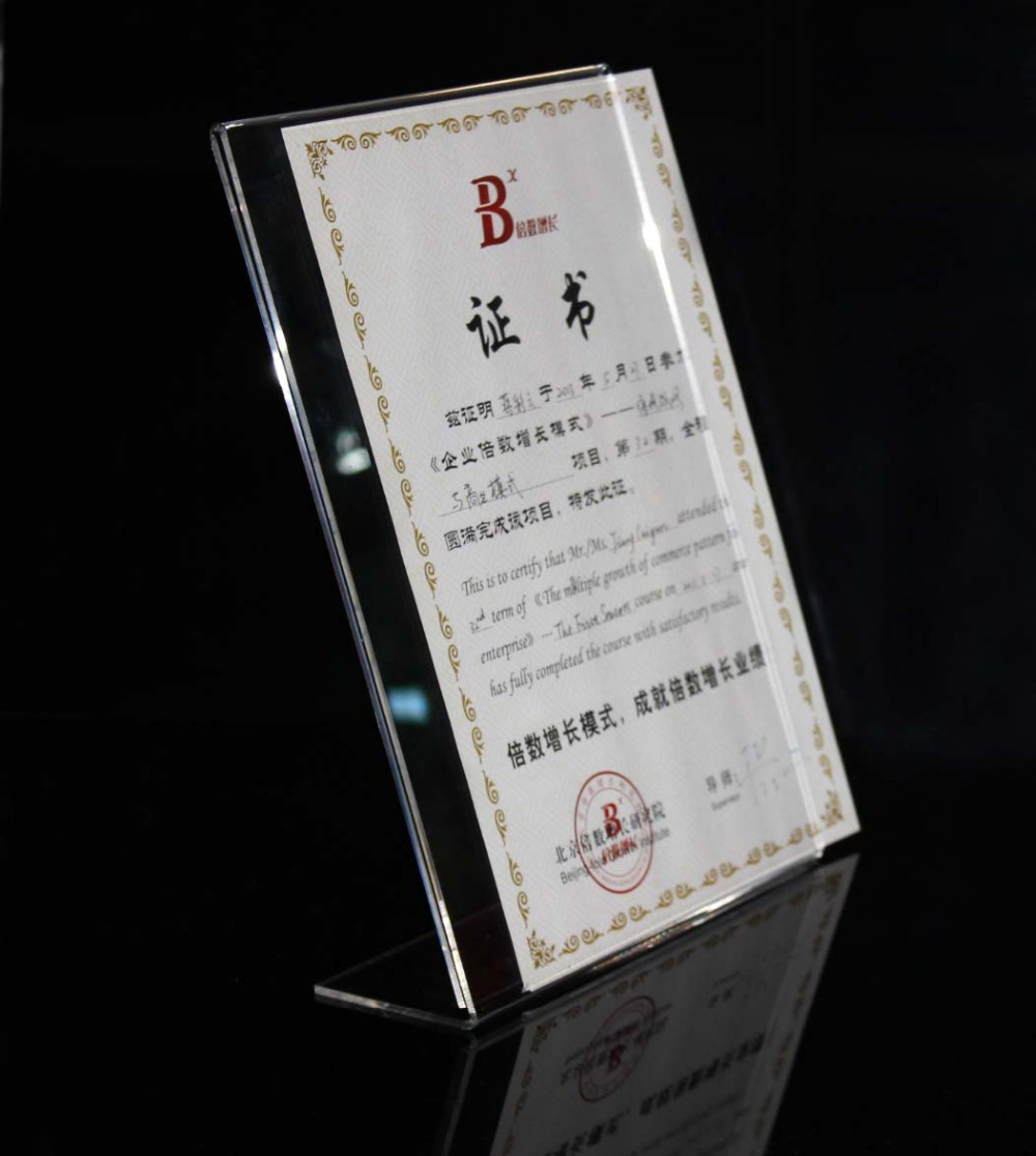 factory customized L shape certificate acrylic display
