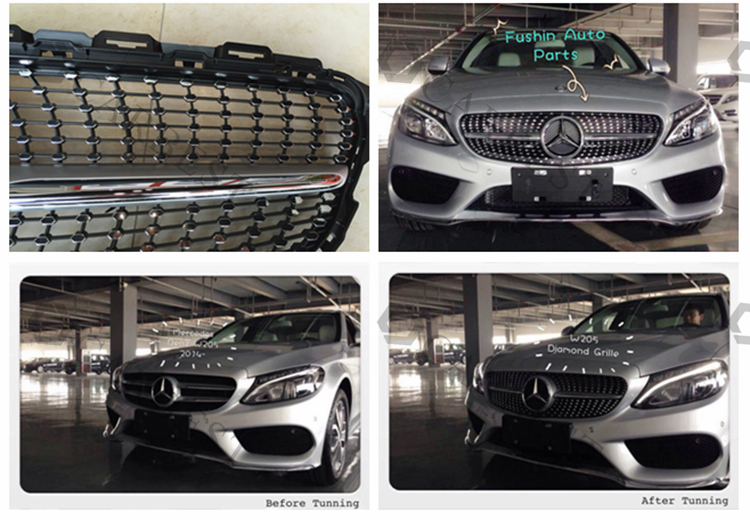 High Quality Amg Style C63 W205 Diamond Grille For