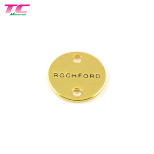 High Grade Round 2 Holes Engraved Small Metal Labels Custom Clothing Metal Labels