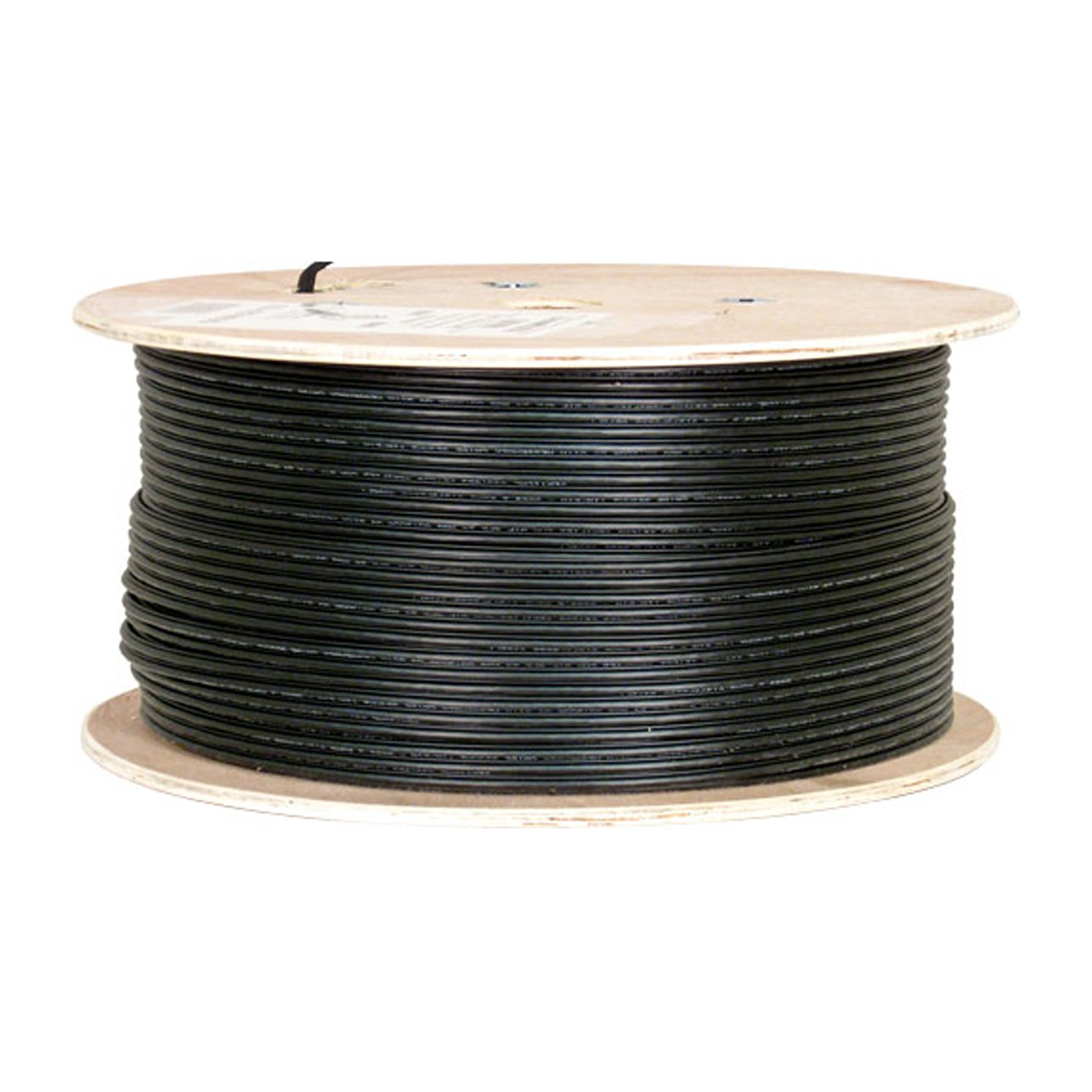 Vertical Cable Cat6, Shielded, UV Jacket, Outdoor, CMX, Messenger, 1000ft, Black, Bulk Ethernet Cable, Wooden Spool