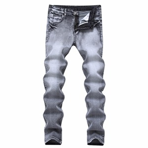 Mens Light Gray Stretch Denim Pants Slim Nostalgia Men Jeans