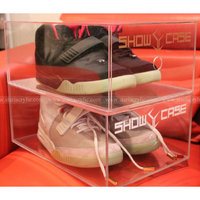 Custom imprint Acrylic Show case for Shoes, Acrylic Shoe boxes, Lucite Shoe Boxes