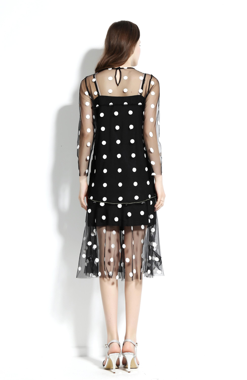 9adad1615f Gasa de dos piezas conjunto pequeño DOTS mujeres vestido manga larga diseño  de lujo vestidos corte