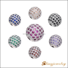 High quality real gold plated AAA cz micro pave beads for jewelry making