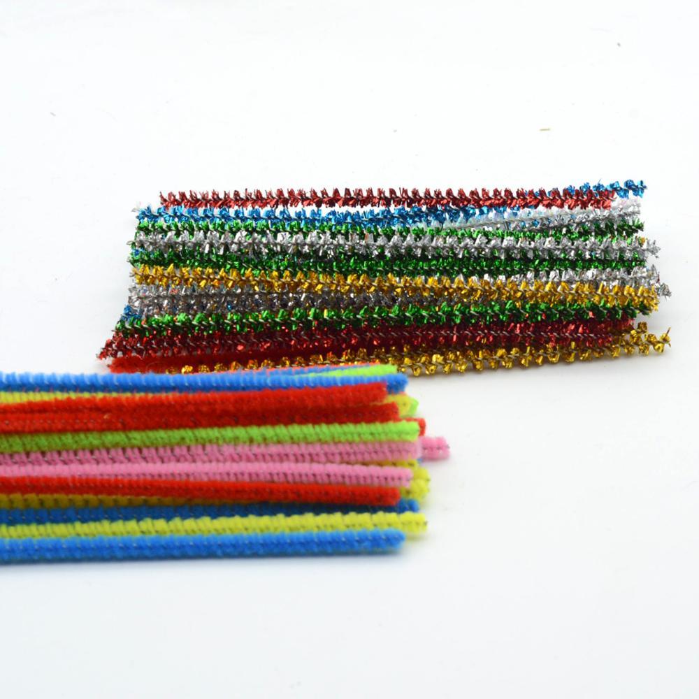 6mm x 30cm Coloful DIY Ofício Fio Chenille Hastes Limpador de Cachimbo para Crianças Brinquedo 1000 pçs/saco