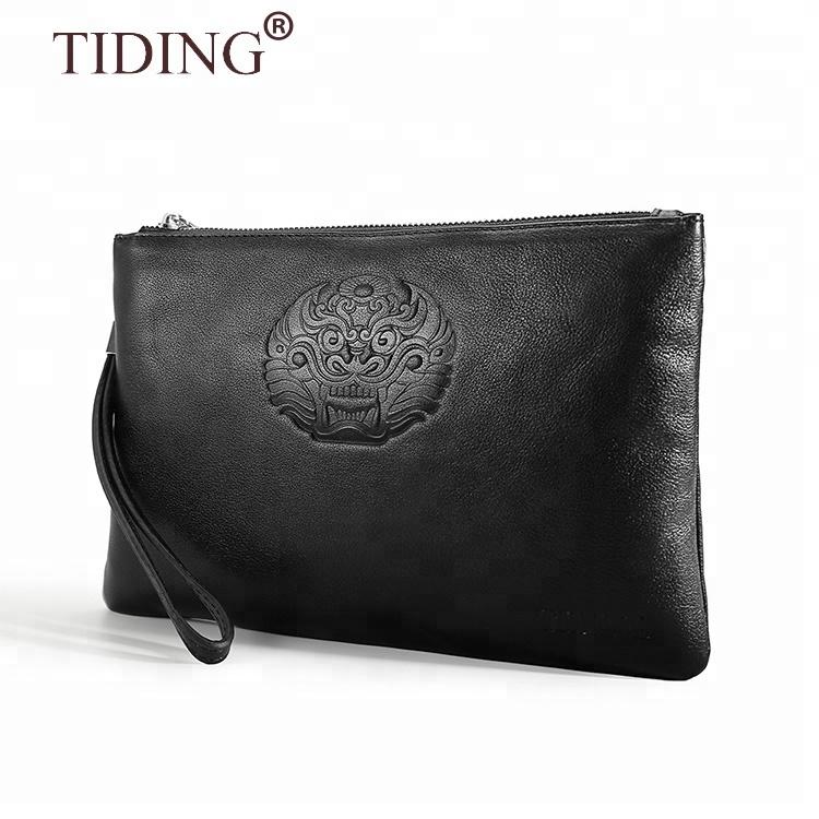 New Arrival Customized Black Leather Clutch Bag Full Grain Leather Clutch Handbag