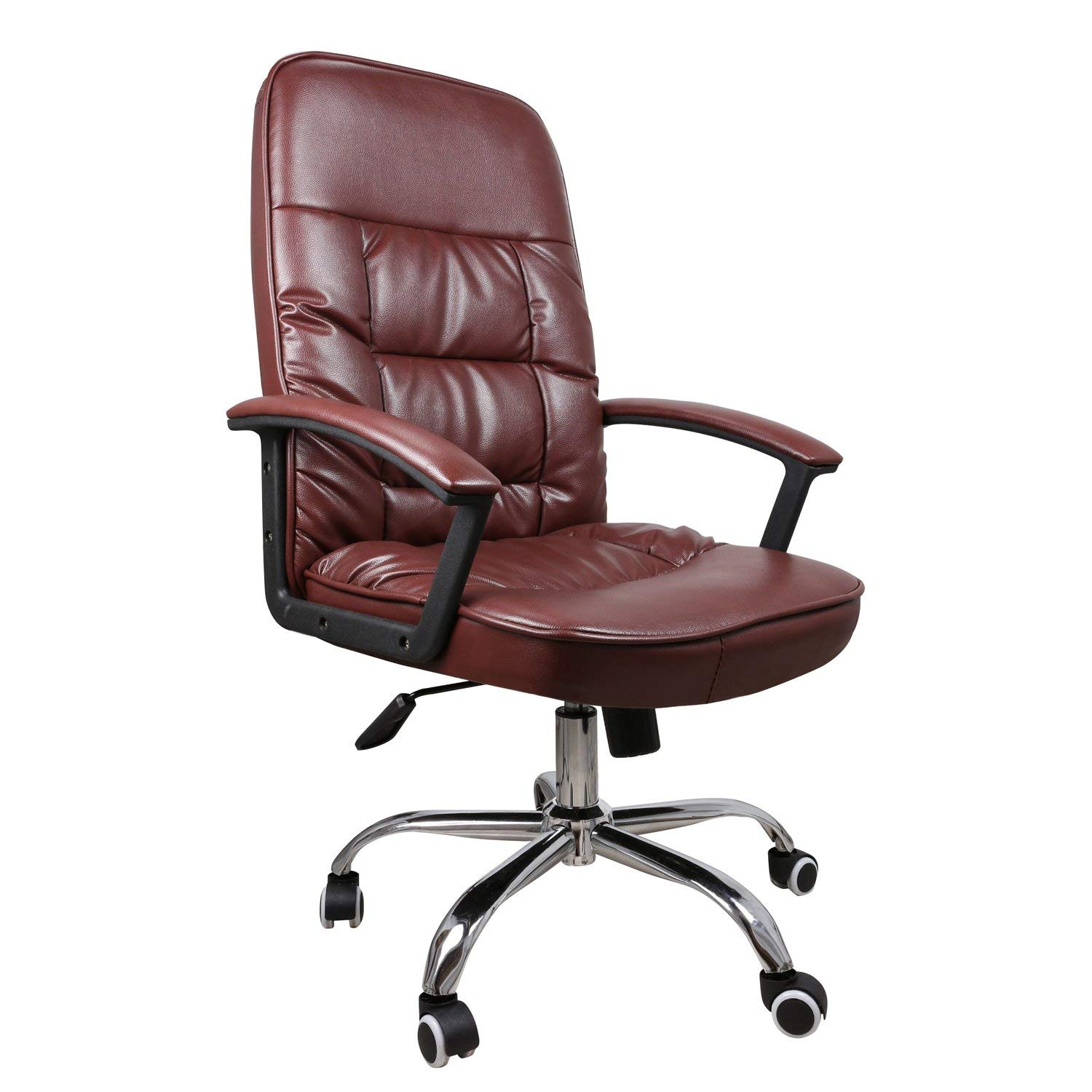 Ergonomic Big & Tall Office Chair with High Back Large Seat and Tilt Function Executive Swivel Computer Chair PU Brown
