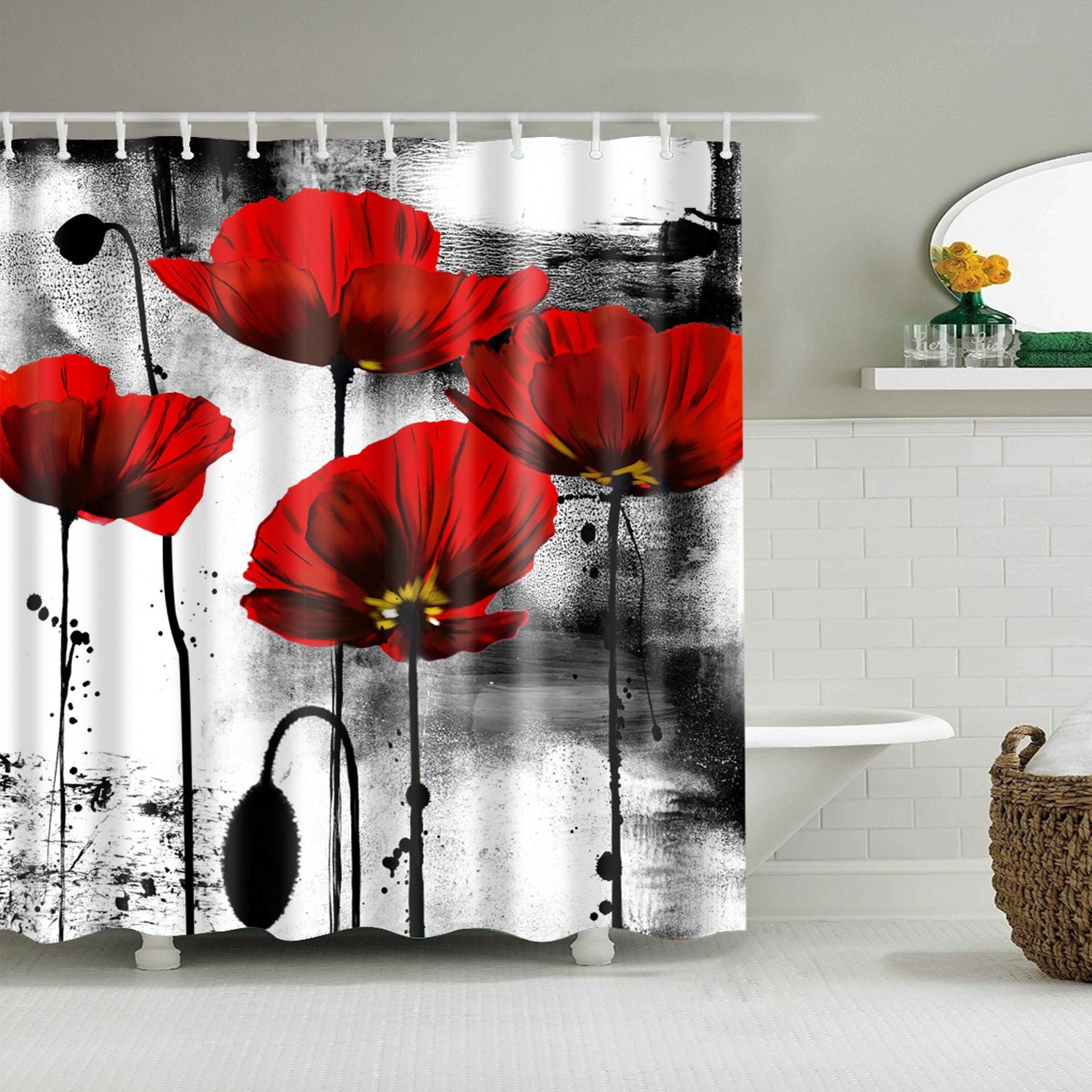 Chengsan Floral Shower Curtain Classic Decor by, Flowers Chic Floral Picture Art Design, Polyester Fabric Shower Curtain, Black And White Red(CS-YL73)