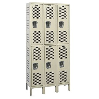 "Hallowell U3888-2HDV-PT Heavy-Duty Ventilated KD Metal Locker, Unassembled, 3-Wide Grouping, 2 Tier, 36"" Opening Height, 78"" Frame Height, 18"" Width x 18"" Depth, Parchment"