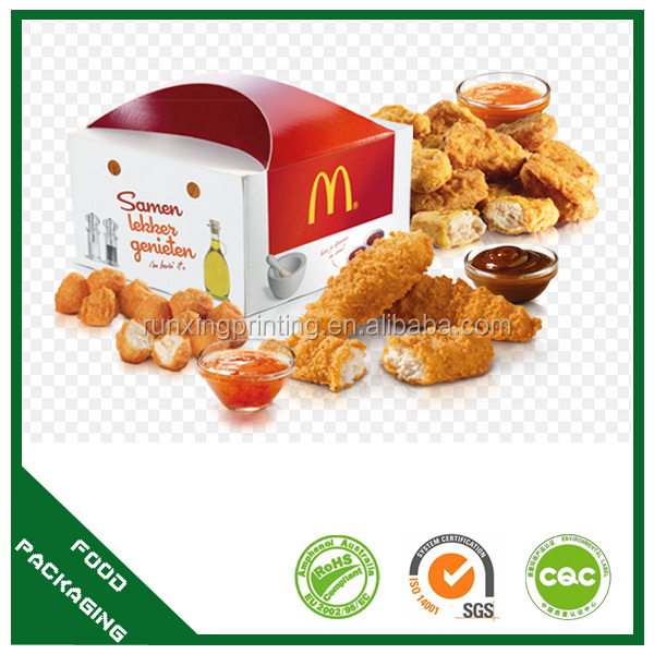 Take out compartment food containers hamburger and fries box