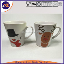Lovely snowman pattern printed stoneware ceramic coffee/tea/soup mug with handle as Christmas gift