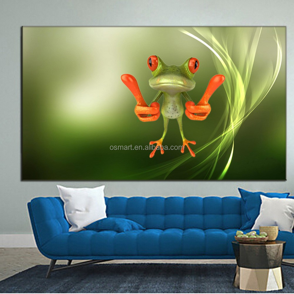 Hot Oil Paintings Art Work Cartoon Funny Animals Frog Oil Painting ...