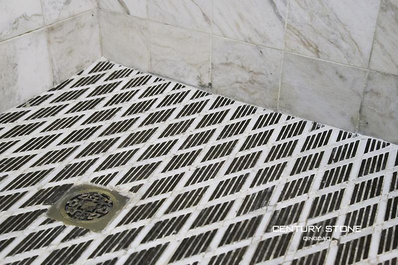 Bathroom Design Marble Mosaics Tiles Non Slip Black And White Shower Floor Mesh Backed