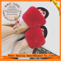 2017 New Women Comfortable Fur Slippers indoor Shoes Wool Slipper Home Footwear Flat Heel Fashion House Slippers