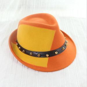 X65409A Western Cowboy Hat With Roll-up Wide Brim Punk Rivet Hats 3bd864c71cd4