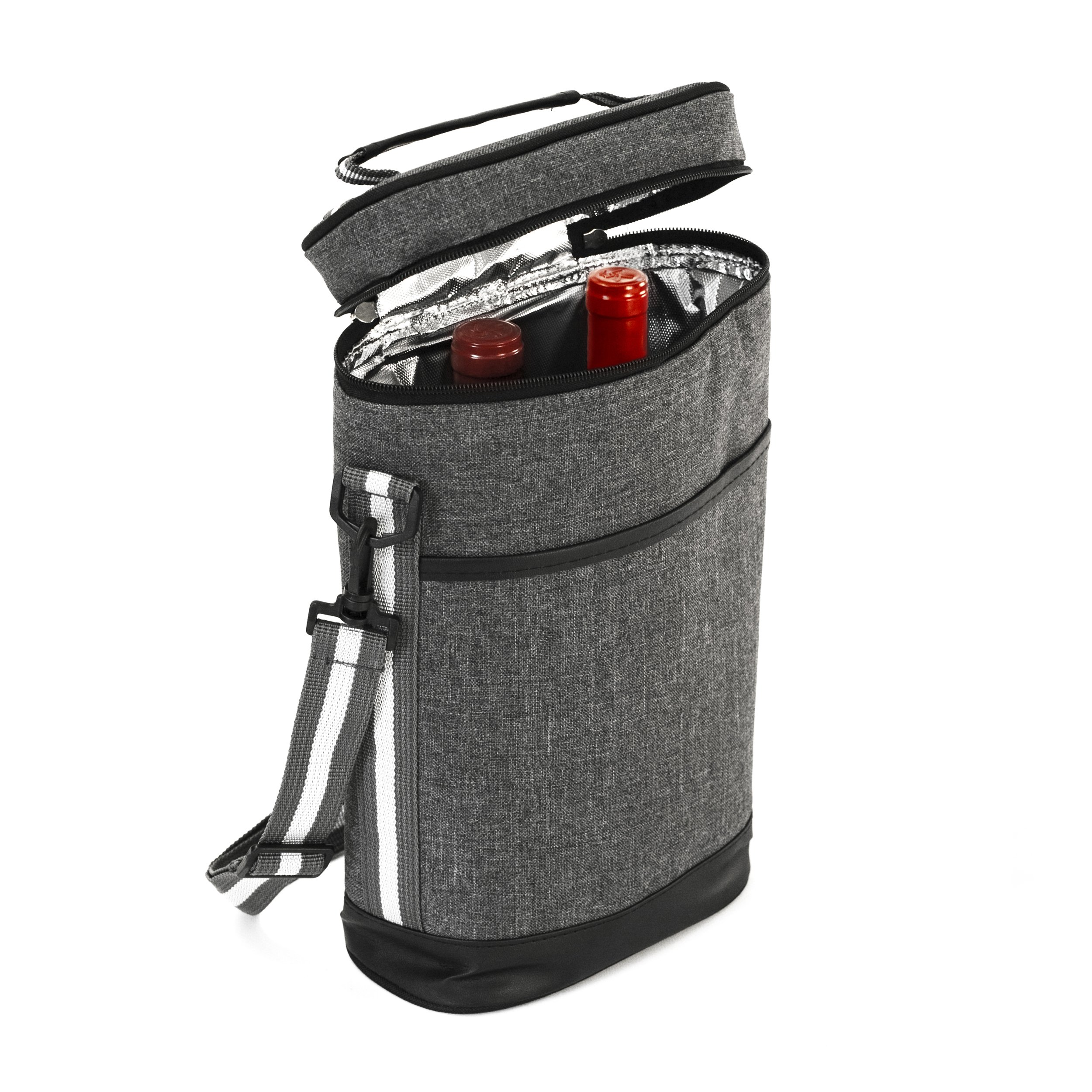 6475e3417 2 Wine Tote Carrier - Insulated Portable Picnic Cooler Bag for 2 with Shoulder  Straps and Outside Pocket in Gray –Wine Travel Bag Perfect for Picnic  Camping ...