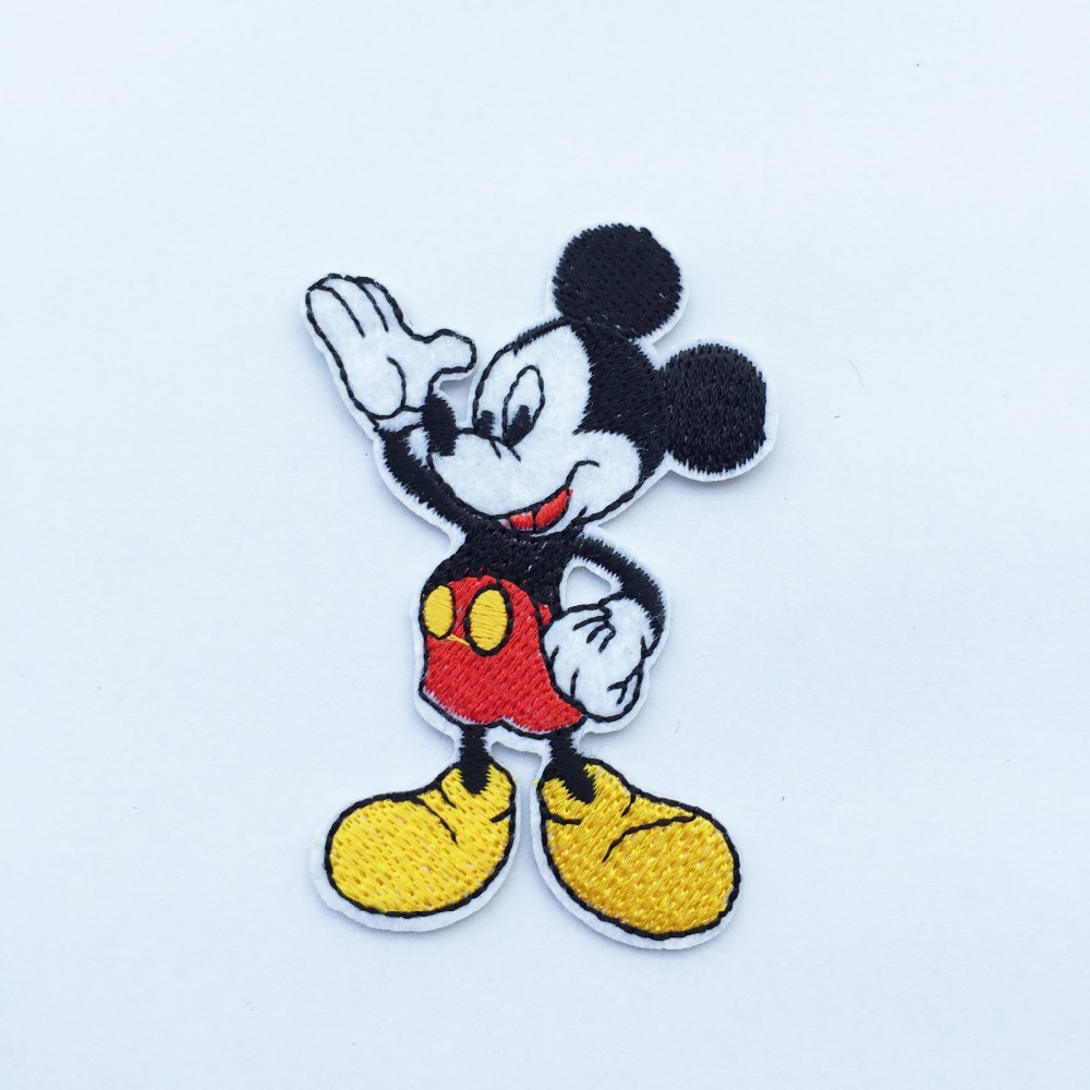 Embroidered Cartoon Iron On patches For Clothing Mickey Mouse Replica Badge good Quality Farbic Stickers 2pcs/lot
