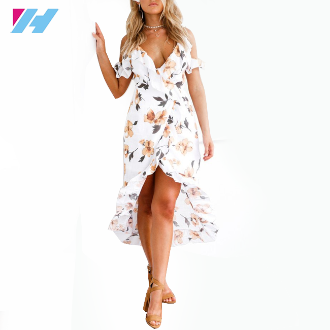 Sexy women summer orange dress floral print long casual maxi dresses