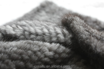Large Knitted Mink Fur Plate Blanket Soft Cuddly Fleece Real Sofa Throw Natural Color