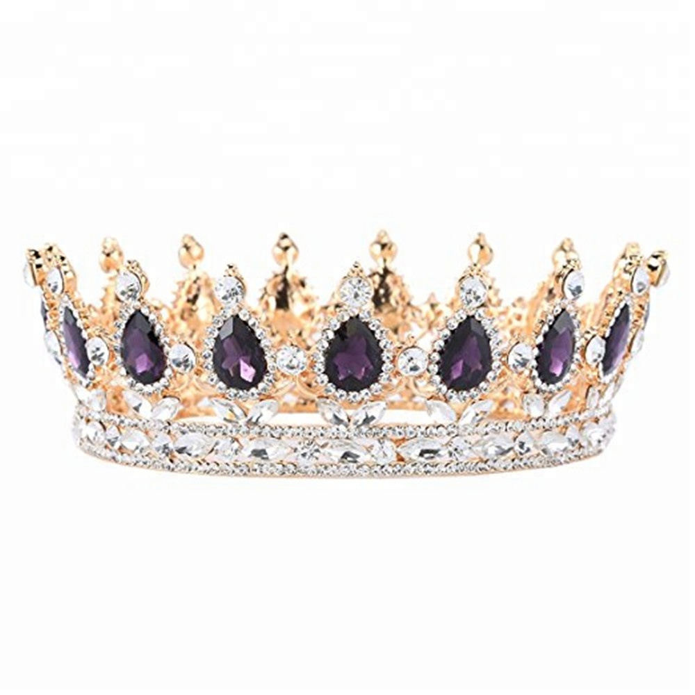 Custom baroque <strong>crown</strong> wedding full round hair accessories tiara to woman crystal princess <strong>crown</strong> fits party activity
