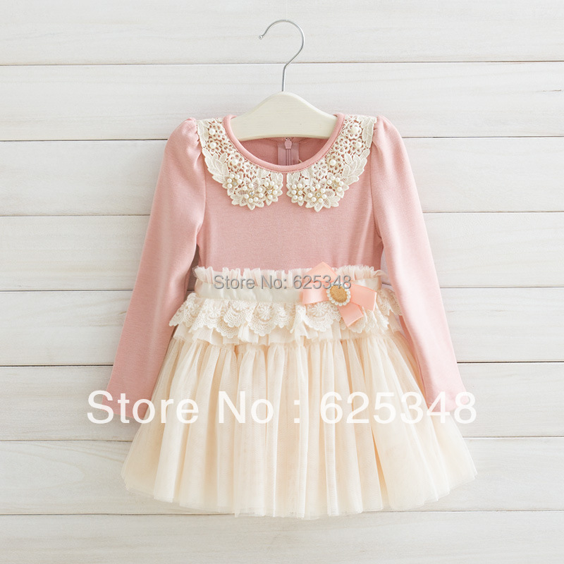 Retail Free Shipping New Autumn Fashion Pearl Girl s Baby dress Lace Girls Dress Children s