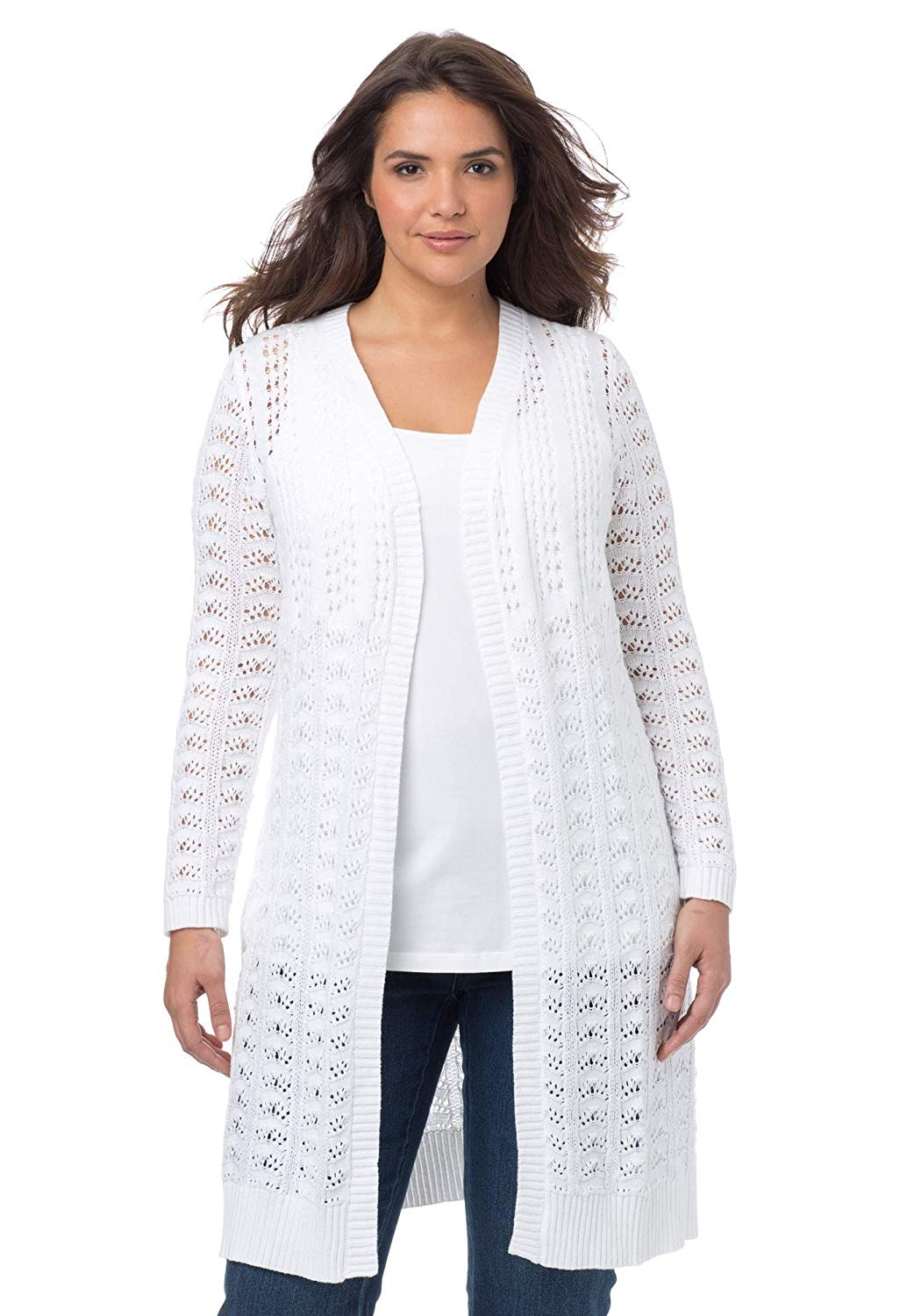 6fbfe954419 Get Quotations · Woman Within Plus Size Pointelle Cardigan Sweater Duster