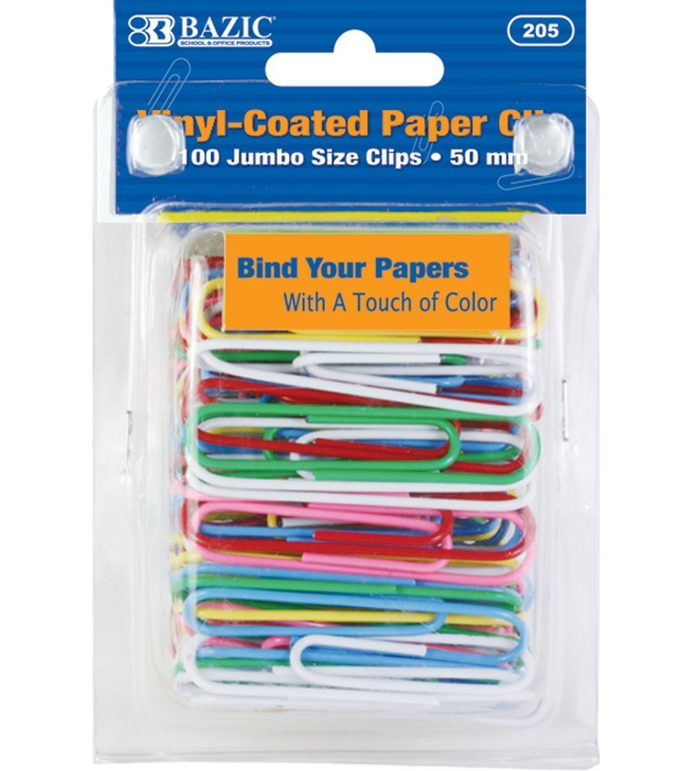 BAZIC Jumbo (50mm) Color Paper Clips (100/Pack), Case Pack 24