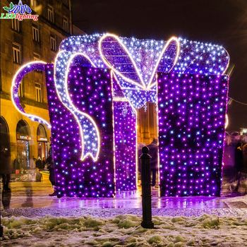 outdoor christmas light decoration led street motif 3d gift box - Decorative Christmas Boxes With Lights