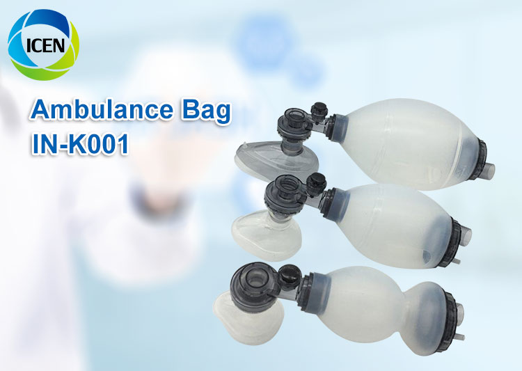 IN-K001 first aid equipment PVC ambu bag with CPR mask infant child adult manual resuscitator ambu bag
