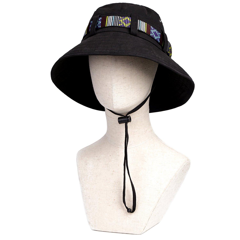 a3ee74c271201 Get Quotations · Black grey khaki golf bucket hat 100% cotton fishing hats  easy foldable sun