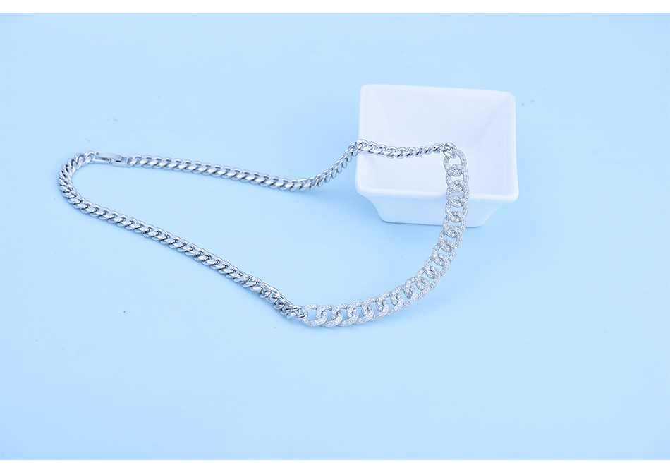 LUOTEEMI Wholesale White Gold Plated Trendy Women 40CM Cuban Link Chain Choker Necklace Earring Jewelry Sets