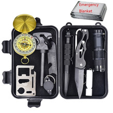 Survival Kit Multifunction 10 in 1 Outdoor Survival Gear With Compass / Flintstone / Knife / Tactical Pen / Emergency Blanket