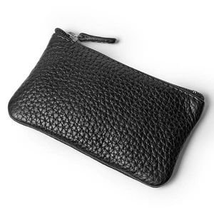 OEM Black Lichee Pattern PU brand your own cosmetic pouch