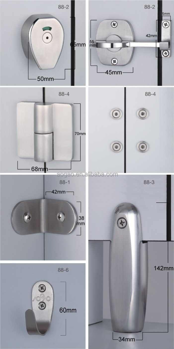 Bathroom Partition Accessories aogao 88 series stainless steel 304 toilet partition accessories